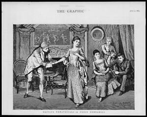 1883 Antique FINE ART Print - Private Theatrical Dress Rehearsals Actors (55)