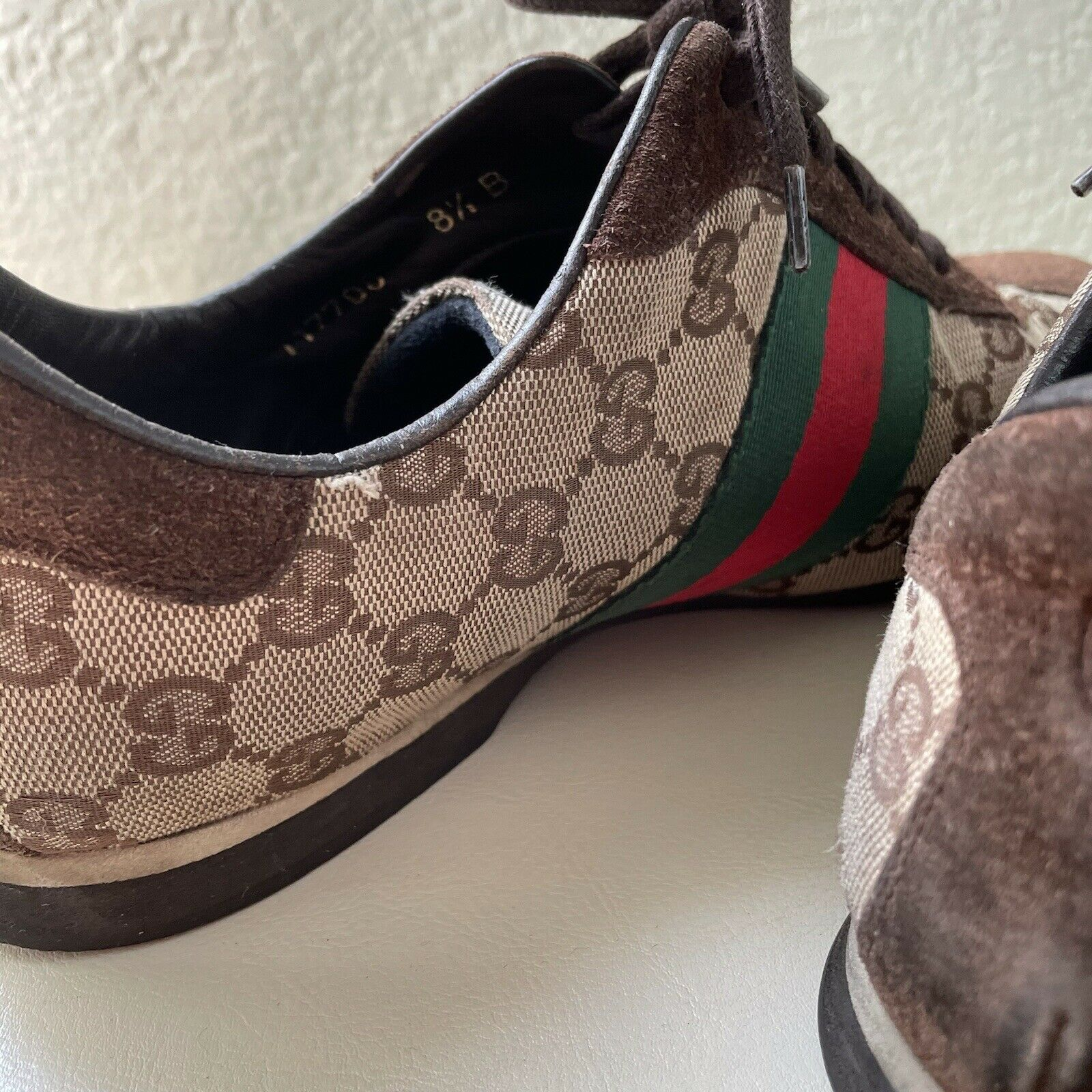 Vintage Classic Brown Green Red Gucci Logo Canvas… - image 11