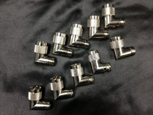 10 LOT N MALE TO N FEMALE RIGHT ANGLE NICKEL PLATED RF CONN ADAPTER 80420-10