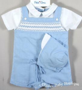 NWT Petit Ami Boys Blue Gingham Smocked Romper Hat Newborn Jon Jon Baby