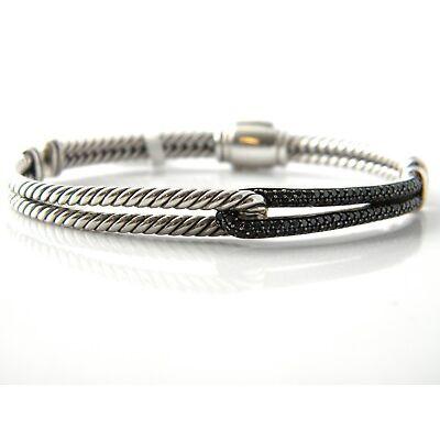 David Yurman Labyrinth Mini Single Loop Bracelet Black Diamonds/Silver NWT