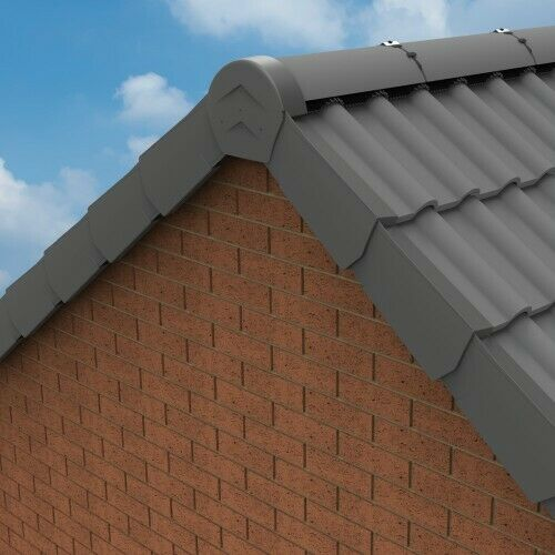 ambidextrous Tile End Cap Grey Dry Verge Manthorpe Eaves Closure /& Ridge Caps