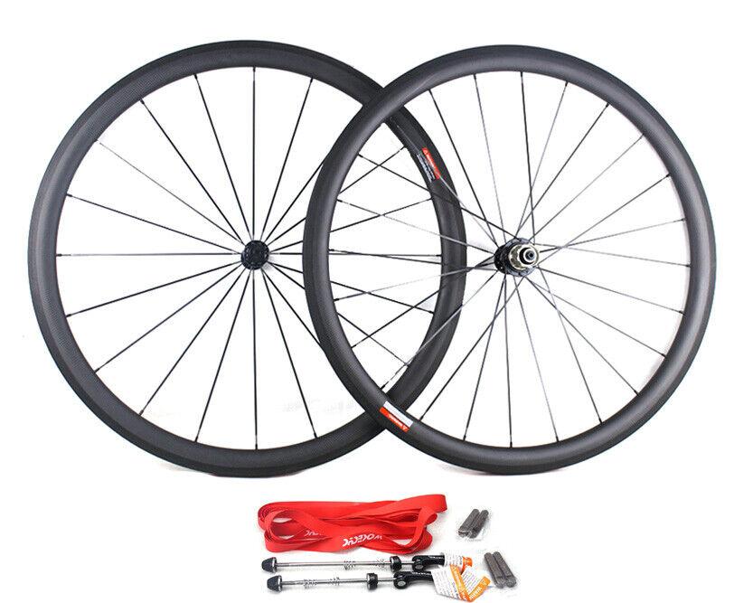 700C 38mm Carbon Clincher Road bike bicycle Wheelset 3K Racing Wheels R13 Hub