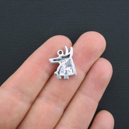 8 Head of Anubis Charms Antique Silver Tone Egyptian SC1123