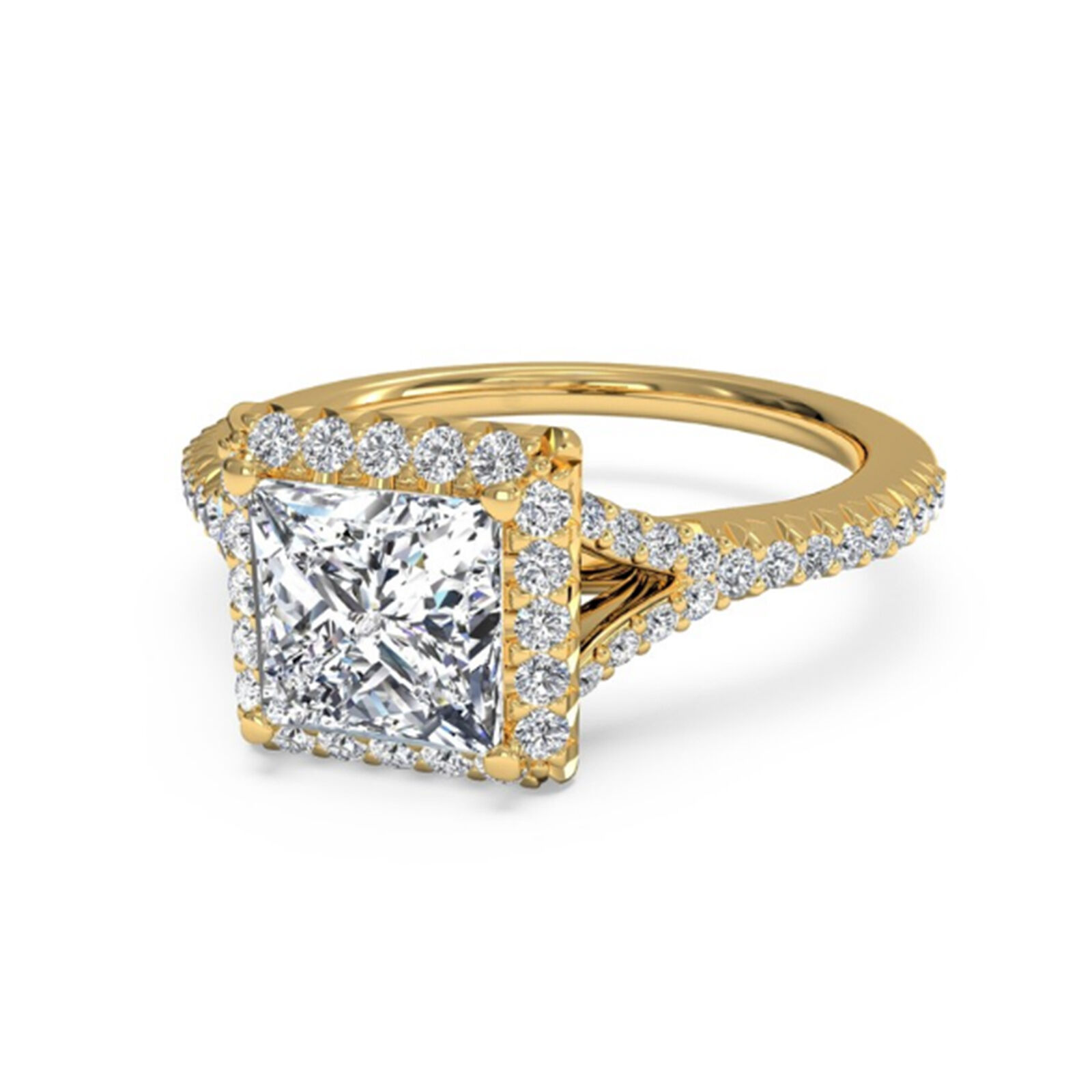 1.10ct Princess Cut Diamond Engagement Ring 14K Yellow gold Size 8 VVS1 D Round