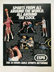 Espn 24 Hour Cable Sports Network Vintage 1983 Print Ad Ebay