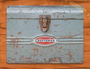 """Tin Wall Decor tin-ups tin sign """"craftsman toolbox"""" tools vintage garage rustic"""