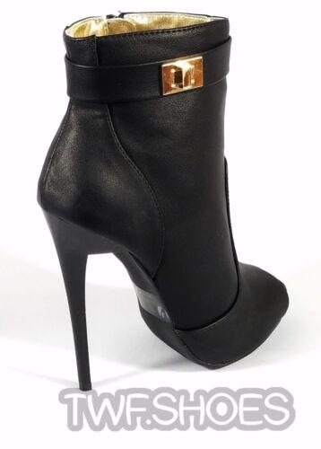 """MM Adamarys Black Open Toe Ankle Boot 4.75/"""" Spike Stiletto Heel Sizes 6-11"""