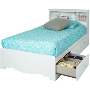 South Shore Crystal Mates Twin Bed Storage Drawer White Kids Bedroom