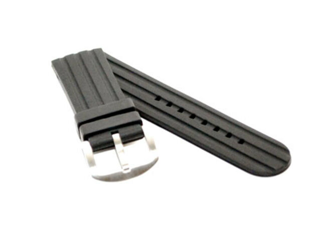 24mm Black F1 Tang Style MODENA Rubber watch strap / band for Big Watches