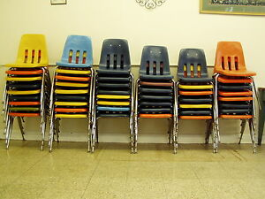 Awesome Image Is Loading 48 Lot Vintage School Desk Chairs Chrome Plastic