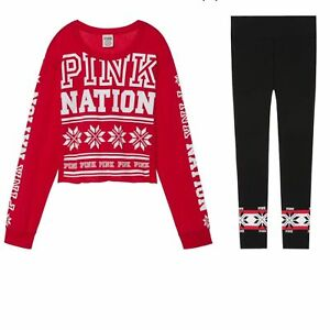 New-VICTORIA-039-S-SECRET-PINK-NATION-Holiday-Tee-Yoga-Legging-Set-Great-Gift