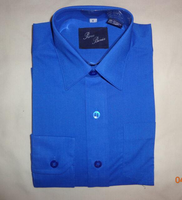 NWT Pierre Bonee  Kids L/S Boys Button Down Dress School Shirt Sizes 6 to 16
