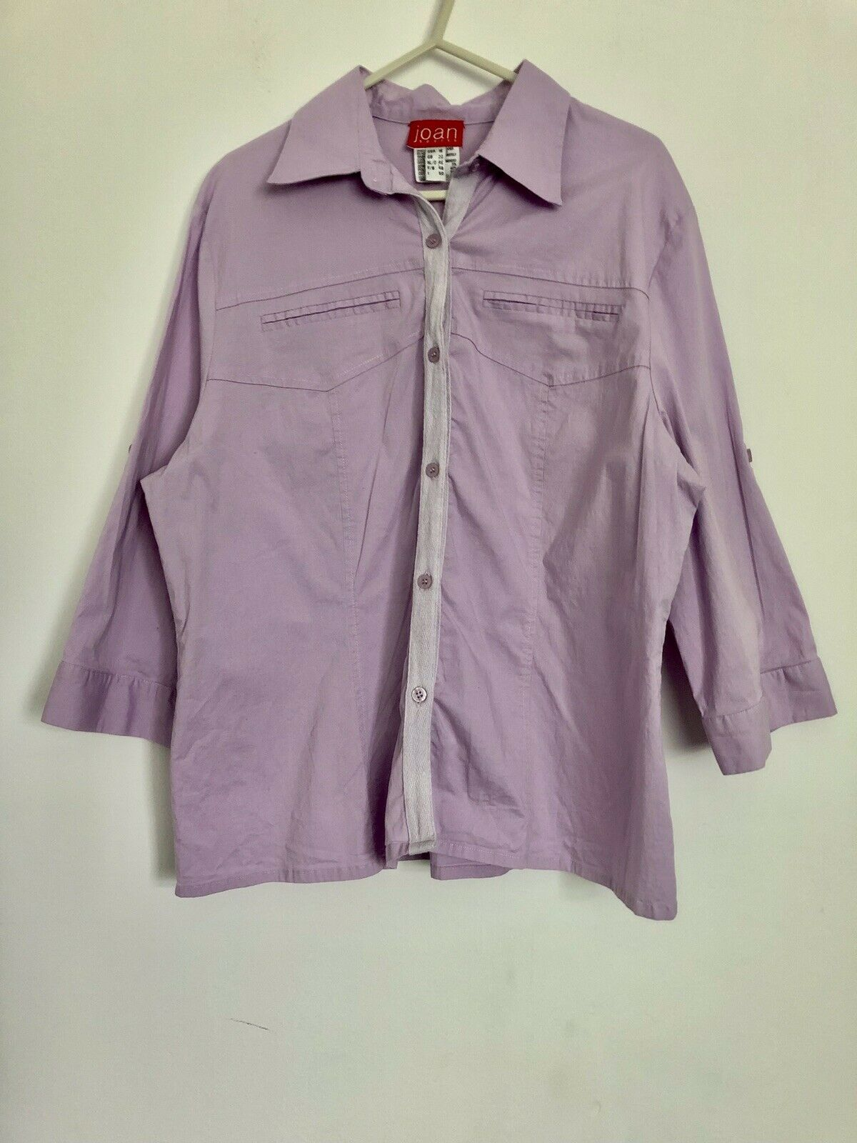 JOAN SPORT Lilac Purple Button Up Collared Shirt Outdoor Wear Size Medium/Large
