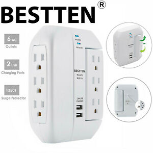 BESTTEN-Wall-Tap-Charger-Surge-Protector-w-2-USB-Ports-6-Outlets-3-Swivel-ETL