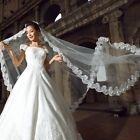 3M 1 Tier Bridal Cathedral Wedding Veil Elegant Lace Applique Edge Floor Length