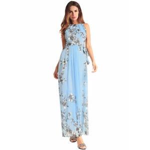 buy online 97435 5273f Dettagli su Elegante vestito abito donna lungo azzurro fiori maniche comodo  4324