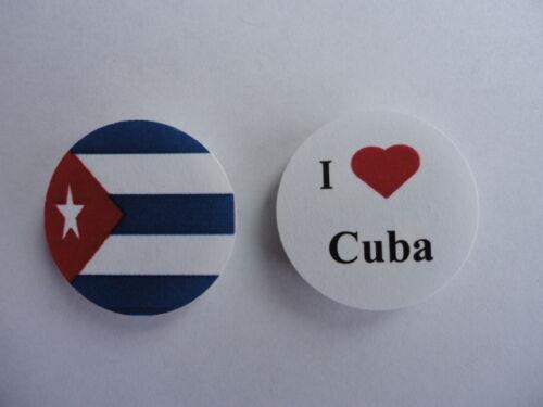 New Cuba I Love Cuba Cuban Flag 25mm Button Pin Lapel Badge