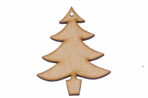 Pack of 25 50mm High MDF Christmas tree blanks decorations WITH HANGING HOLE #01