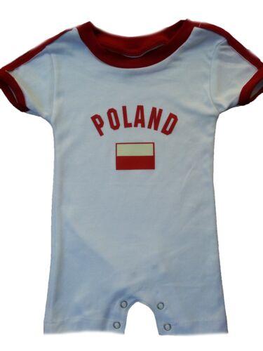 Poland Baby Bodysuit Infant Cotton Soccer Futbol Jersey Flag T-Shirt All Seasons