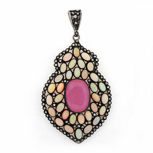 925-Sterling-Silver-Genuine-6-90Ct-Ruby-amp-Opal-Gemstone-Diamond-Designer-Pendant