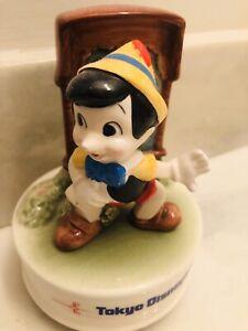 80'S Vintage Rare Disney Tokyo Disneyland Old Pinocchio Pottery Music Box Doll