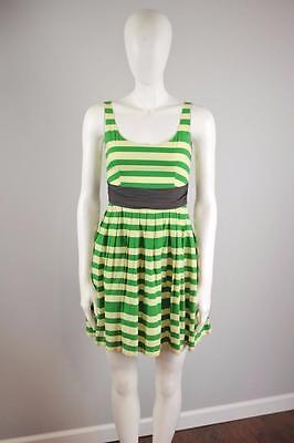 COREY LYNN CALTER Sz 0 $178 Anthropologie Caranday Dress Green Striped [2G]