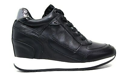 Dettagli su Geox sneaker con zeppa colore nero D6430A 02285 C9999 Autunno Inverno 2017 2018