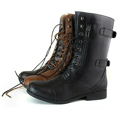 Women Ankle High Zipper Military Low Flat Heel Buckle Riding Lace Up Boot Shoe