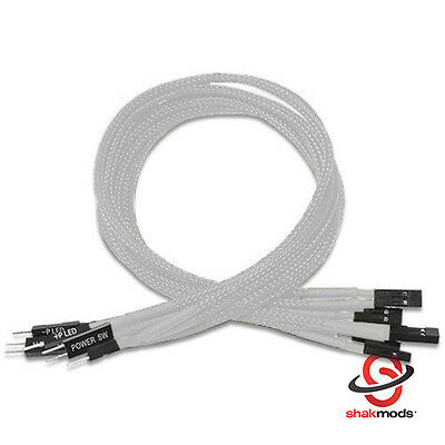 Shakmods Front Panel White Sleeved Power Reset HDD LED Extension Cable 30cm UK