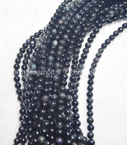 Natural 8mm Negro Obsidiana Arco Iris De Los Ojos Gemas redonda suelta granos Strand 15 pulgadas