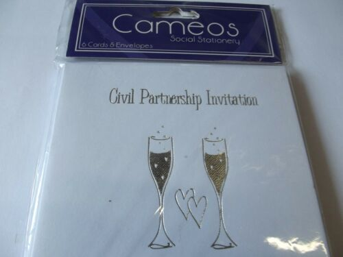 Partenariat Civil invitations.. 6 cartes /& enveloppes.. par camées