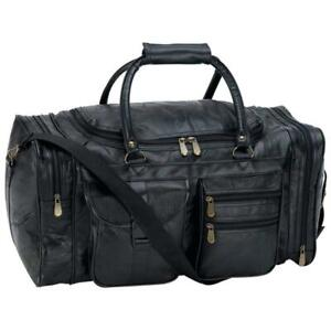 "DUFFLE TOTE BAG 21"" Black Leather Gym Travel Carry On Luggage Shoulder Sport"