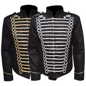 Military-Officer-Drummer-Parade-Jacket-Gothic-Punk-Men-039-s-Black-Gold-Silver-WLC