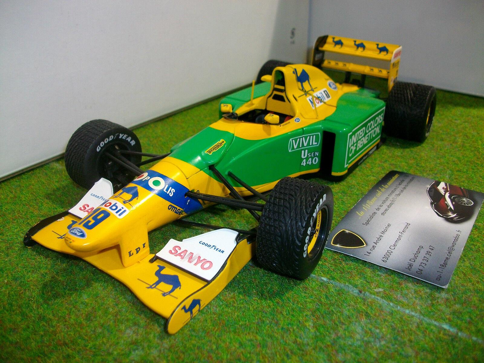 F1 BENETTON d 1992 formule 1   19 B192 M.SCHUMACHER au 1 18 de MINICHAMPS RARE