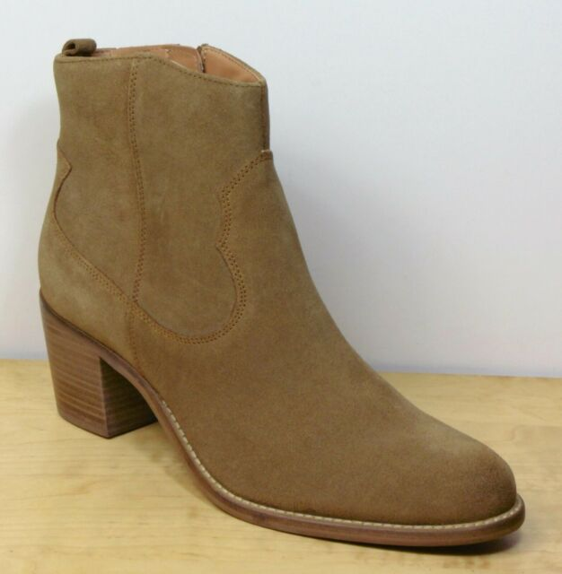 Suede Western Ankle BOOTS Tan UK
