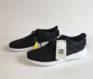outlet store e99f5 b1913 Image is loading Adidas-Cloudfoam-QTFLex-Women-Running-Shoes-Black-White-