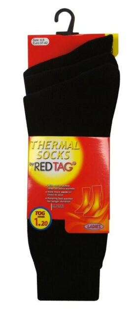 LADIES REDTAG BLACK PACK OF 3 THERMAL 1.2 TOG SOCKS UK 4-8 (41B259)
