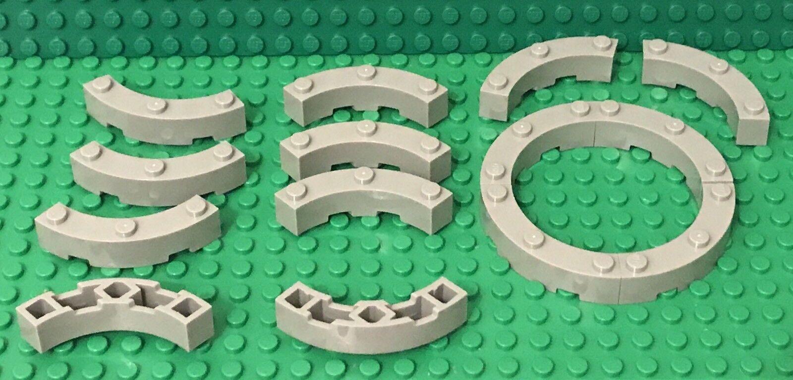 4x Lego 48092 Brick Round Corner 4 x 4 Macaroni Wide w// 3 Studs Red