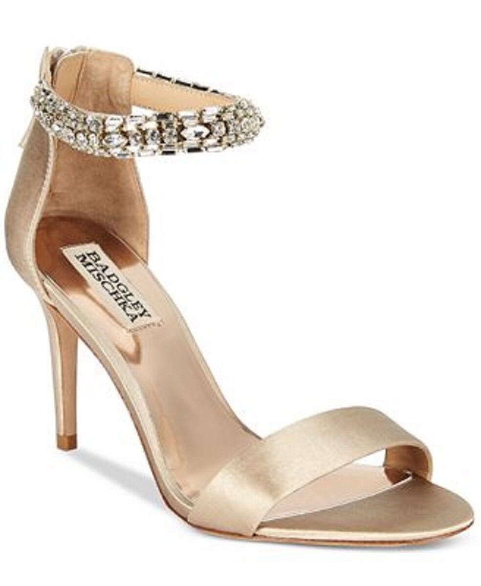 BADGLEY MISCHKA CocheLOTTA ANKLE STRAP EVENING zapatos - NUDE SATIN - Talla 8