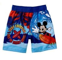 Infant Boys Disney Mickey Mouse Blue Mickey Mouse Surf Swim Trunks 0/3m