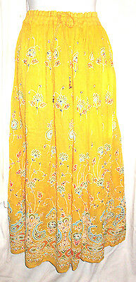 Indian Yellow Skirt Gypsy Boho Bollywood Peasant Hippie Plus Size Free Size