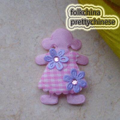 10pcs Pink Cute Doll Floral Appliques Padded Craft Sew Scrapbook Trim APQP
