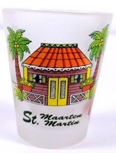 St-Maarten-Beach-House-Palm-Trees-Floral-2-25-034-Frosted-Collectible-Shot-Glass