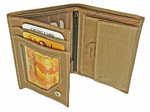 Mens-Brown-Leather-Hunter-Wallet-amp-Credit-Card-Holder