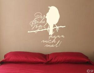 Wandtattoo Schlafzimmer der frühe Vogel Sprüche Küche Wohnzimmer ...