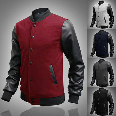 Men BOY Slim Fit Baseball SPORT Jacket Letterman Uniform Coats Stylish S M L XL