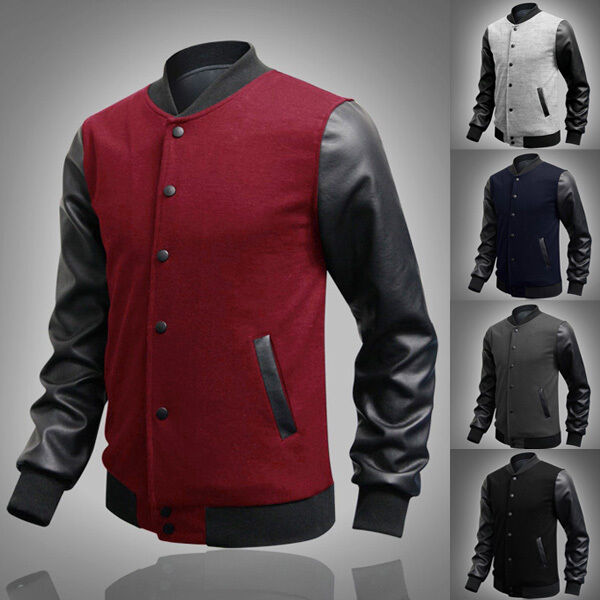 2016 Casual PU Leather Men's Slim Fit Baseball Sweaters jackets Outerwears Coats