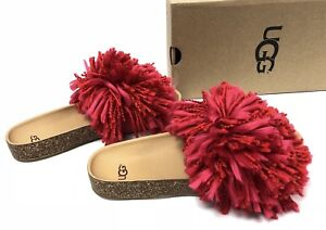 3b42496bbbd Details about UGG Australia CINDI YARN FRINGE CORK SOLE SLIDE SANDALS  Ribbon Red 1020079