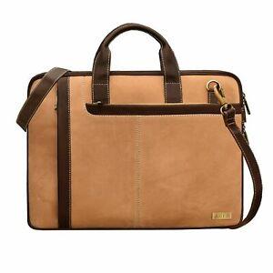 ABYS 15.6 Inch Leather Shoulder Sling Laptop Messenger Bag For Unisex